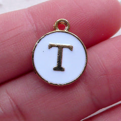 Initial T Charm (1 piece / 13mm x 15mm / Gold & White / 2 Sided) Letter Charm Alphabet Enamel Charm Personalised Jewellery Making CHM2362