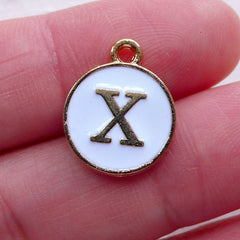 Letter X Charm (1 piece / 13mm x 15mm / Gold & White / 2 Sided) Alphabet Charm Initial Enamel Charm Personalized Add On Charm CHM2366