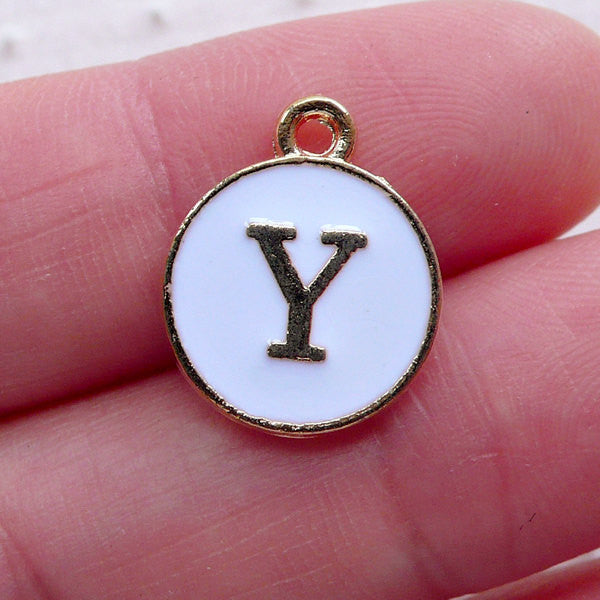 Alphabet Y Charm (1 piece / 13mm x 15mm / Gold & White / 2 Sided) Letter Charm Initial Enamel Charm Personalised Wine Glass Charm CHM2367