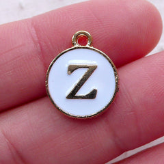 Initial Z Charm (1 piece / 13mm x 15mm / Gold & White / 2 Sided) Letter Charm Alphabet Enamel Charm Personalized Bracelet Making CHM2368
