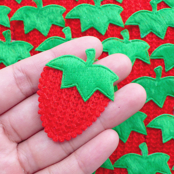 Crochet Strawberry Applique / Fabric Fruit Padded Applique (6pcs / 35mm x 45mm / Red) Sewing Decoration Card Scrapbooking Embellishment B264
