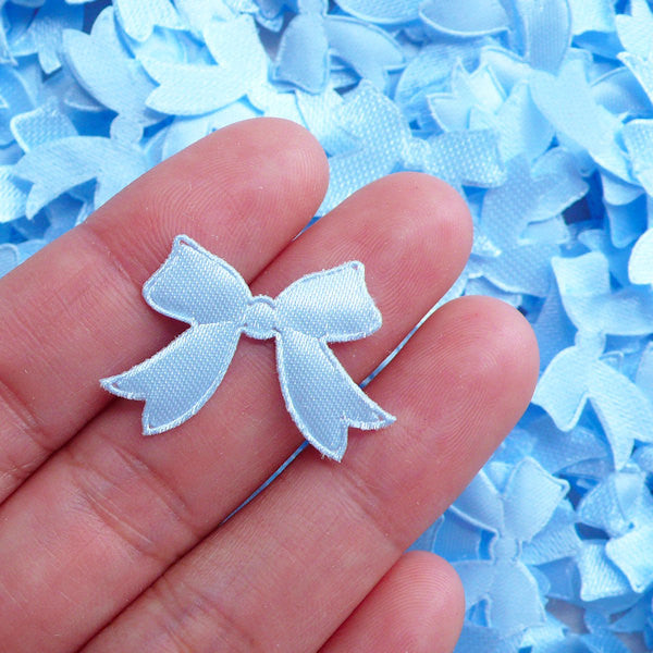 CLEARANCE Satin Ribbon Applique (25pcs / 27mm x 18mm / Blue) Baby Shower Decoration Table Scatter Scrapbooking Embellishment Kawaii Card Making B270