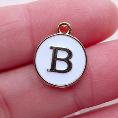 Initial B Charm (1 piece / 13mm x 15mm / Gold & White) Letter Charm Alphabet Enamel Charm Personalised Necklace Bracelet Making CHM2344