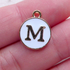 Alphabet M Charm (1 piece / 13mm x 15mm / Gold & White / 2 Sided) Letter Charm Initial Enamel Charm Personalized Wine Glass Charm CHM2355