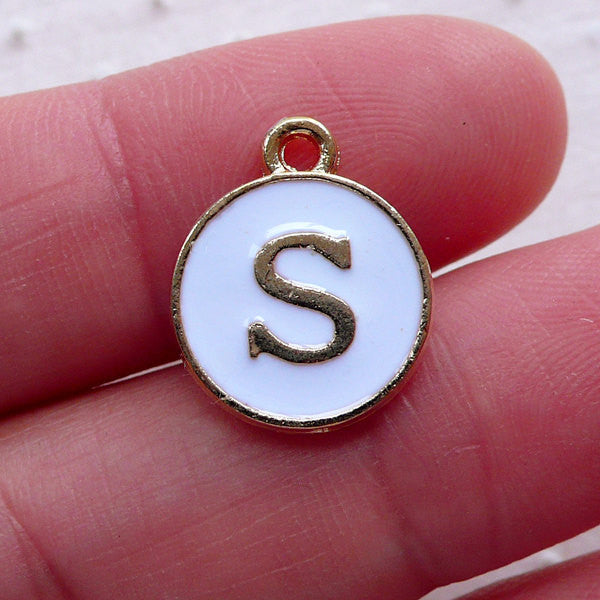 Alphabet S Charm (1 piece / 13mm x 15mm / Gold & White / 2 Sided) Letter Charm Initial Enamel Charm Personalized Jewelry Favor Deco CHM2361