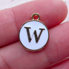 Initial W Charm (1 piece / 13mm x 15mm / Gold & White / 2 Sided) Alphabet Charm Letter Enamel Charm Personalized Jewelry Add a Charm CHM2365