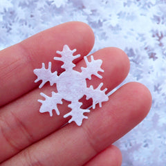 Snowflake Felt Applique / Fabric White Snow Applique (20pcs / 25mm) Christmas Party Decoration Table Scatter Scrapbooking Embellishment B266