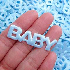 Baby Satin Applique (15pcs / 44mm x 13mm / Blue) Baby Boy Shower Decor Table Scatter Scrapbook Embellishment Invitation Card Making B268