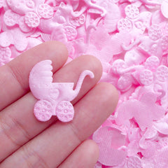 Baby Stroller Satin Applique / Fabric Baby Carriage Baby Trolley Baby Pram (25pcs / 24mm x 24mm / Pink) Baby Girl Shower Embellishment B274