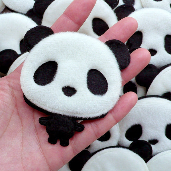 Panda Applique with Short Fur / Plush Doll Applique / Fabric Animal Padded Applique (1 piece / 73mm x 75mm) Hair Jewelry Brooch Making B278