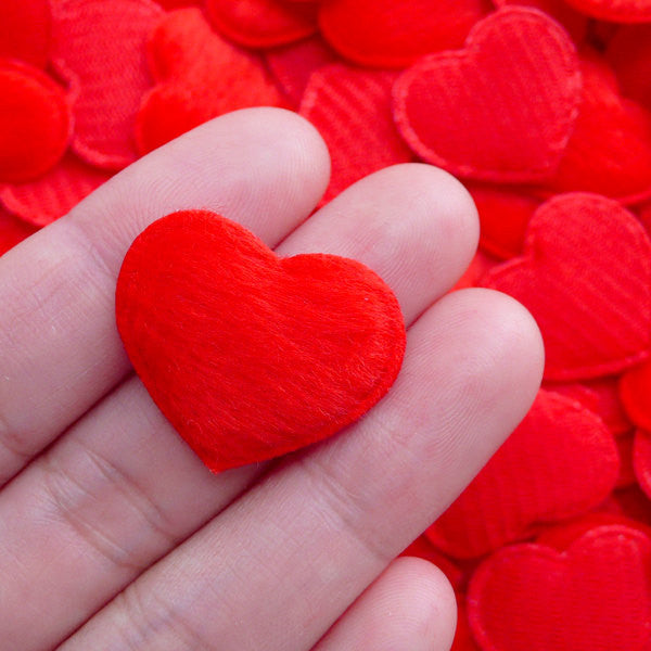 CLEARANCE Velvet Heart Applique / Fabric Heart Padded Applique with Short Fur (12pcs / 26mm x 20mm / Red) Love Deco Valentines Day Wedding Supply B279