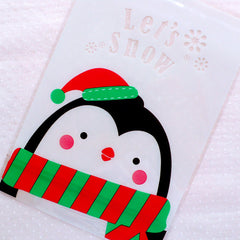 Christmas Penguin Gift Bags / Let's Snow Clear Plastic Bags / Animal Cello Bags (14cm x 20cm / 20pcs) Christmas Packaging Supplies GB145