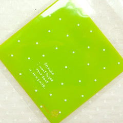 Green Polka Dot Plastic Bags / Small Clear Gift Bags / Self Adhesive Cello Bags / Resealable Bags / Packaging Bags (7cm x 7cm / 20pcs) GB147