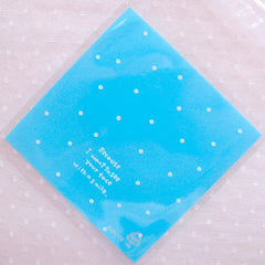 Blue Polka Dot Cello Bags / Clear Resealable Bags / Self Adhesive Gift Bags / Plastic Bags / Mini Packaging Bags (7cm x 7cm / 20pcs) GB151