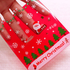 Christmas Cello Bags w/ Santa Claus & Reindeer / Merry Christmas Plastic Bags / Self Adhesive Holiday Gift Bags (10cm x 11cm / 20pcs) GB155
