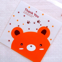 Animal Bear Plastic Bags / Cute Thank You Gift Bags / Self Adhesive Clear Cello Bags (10cm x 10cm / 20pcs / Orange) Etsy Shop Supplies GB142