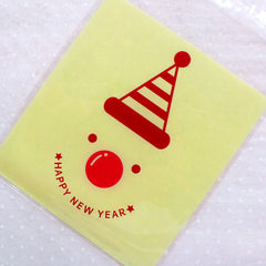 Happy New Year Gift Bags / Snowman Plastic Bags / Snow Man Cello Bags / Christmas Self Adhesive Bags (10cm x 11cm / 20pcs / Yellow) GB144