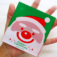 Santa Claus Cello Bags / Christmas Gift Bags / Holiday Plastic Bags / Self Adhesive Packaging Bags (10cm x 11cm / 20pcs / 2 Sided) GB154