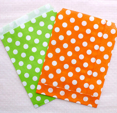 Colorful Paper Bags / Party Treat Bag / Candy Buffet Bags / Goodie Bag / Packaging Bag (13cm x 17cm / 11pcs / POLKA DOT / Assorted Mix) S317
