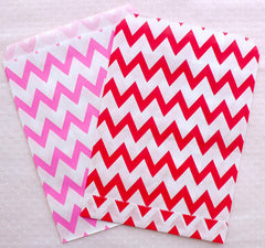 Party Favor Bag / Colored Paper Treat Bags / Candy Bags / Bakery Bag / Gift Wrapping Bag (13cm x 17cm / 11pcs / CHEVRON / Assorted Mix) S318