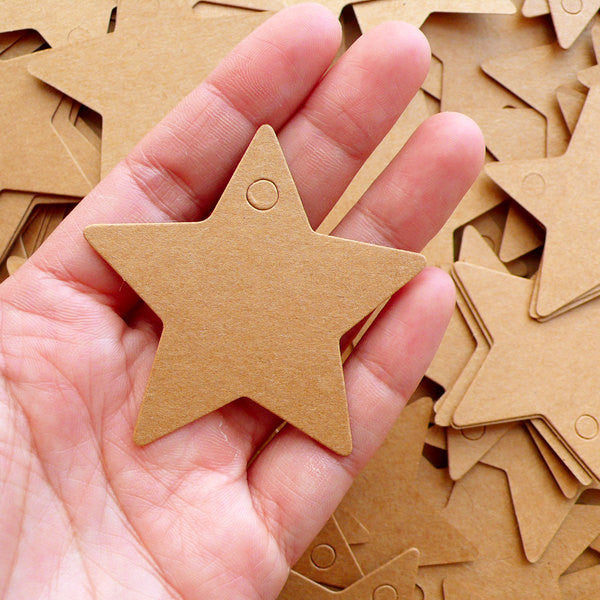 Star Shaped Kraft Paper Tag Blanks (20pcs / 5.7cm) Etsy Packing Supplies Cute Shop Tags Product Tags Kawaii Gift Tags Thank You Tags S319 - MiniatureSweet