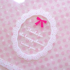 Lace and Polka Dot Gift Bags / Thank You Plastic Bags / Self Adhesive Wedding Favor Bags / Clear Cello Bags (10cm x 11cm / 20pcs) GB157