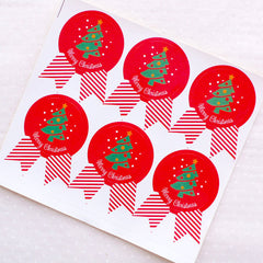 CLEARANCE Merry Christmas Stickers in Badge Shape / Christmas Tree Stickers (12pcs / Red) Christmas Favor Seals Gift Packaging Party Supplies S324