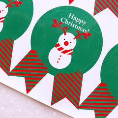 Happy Christmas Stickers in Badge Shape / Christmas Snowman Stickers (12pcs / Green) Christmas Supplies Party Favor Seals Gift Packing S325