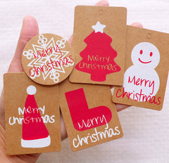 CLEARANCE Kraft Paper Merry Christmas Tags / Rounded Corner Tag (10pcs) Snowflakes Christmas Tree Snowman Hat Sock Product Tag Packaging Supplies S329