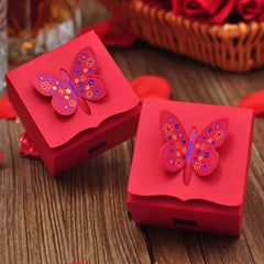 Wedding Favor Boxes with Butterfly & Double Happiness / Paper Gift Boxes / Candy Box / Treat Box (5pcs / Red) Wedding Party Supplies GB160