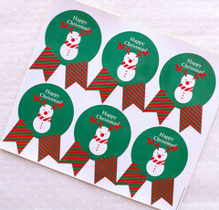 CLEARANCE Happy Christmas Stickers in Badge Shape / Christmas Snowman Stickers (12pcs / Green) Christmas Supplies Party Favor Seals Gift Packing S325