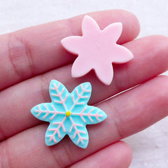CLEARANCE Christmas Snowflake Cabochons in Pastel Color (2pcs / 22mm / Blue & Pink / Flatback) Kawaii Decoden Party Decoration Table Scatter CAB528