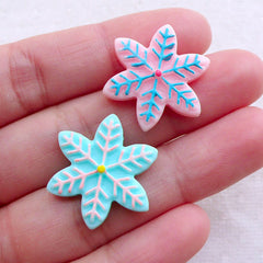 Christmas Snowflake Cabochons in Pastel Color (2pcs / 22mm / Blue & Pink / Flatback) Kawaii Decoden Party Decoration Table Scatter CAB528