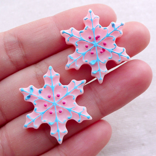 Christmas Snow Flake Cabochons (2pcs / 27mm / Pink / Flat Back) Kawaii Phone Case Party Supplies Winter Embellishment Scrapbooking CAB529