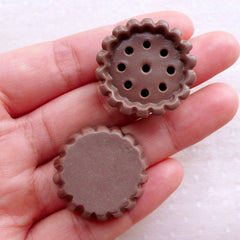 Big Cupcake Bottom Cabochons (2pcs / 28mm x 12mm / Chocolate Brown / 3D) Miniature Sweets Dollhouse Bakery Whimsical Phone Case Deco FCAB430