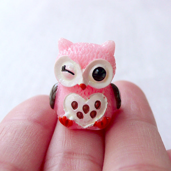 3D Owl Cabochons Bird Animal Cabochon (1 piece / 18mm x 20mm / Light Pink) Cell Phone Deco Dust Plug Making Scrapbook Embellishment CAB536