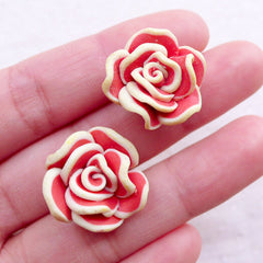 Polymer Clay Floral Cabochons / Fimo Rose Flower Beads (2pcs / 18mm / Light Orange Red / Flatback) Earrings Ring Hair Clip Making CAB537