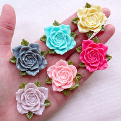Rose Cabochons / Big Floral Cabochon (6pcs / 39mm / Assorted Mix / Flat Back) Large Flower Jewelry Spring Scrapbook Cell Phone Deco CAB539