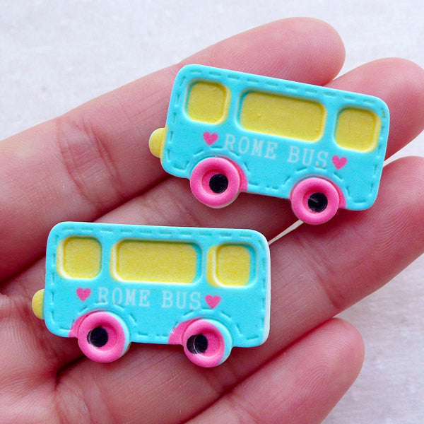 Kawaii Bus Resin Cabochons in Pastel Color (2pcs / 33mm x 19mm / Flat Back) Cute Scrapbooking Embellishment Baby Shower Decoration CAB527