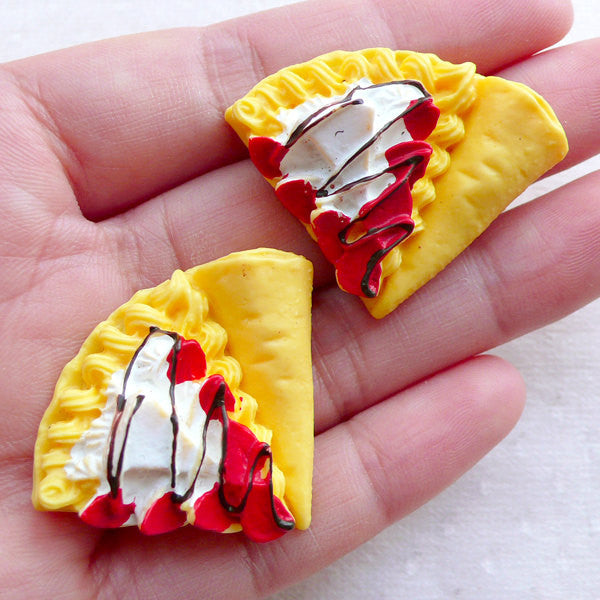 Miniature Strawberry Crepe Cabochons (2pcs / 37mm x 29mm / Flat Back) Kawaii Dollhouse Sweets Decoden Phone Case Whimsical Jewelry FCAB429
