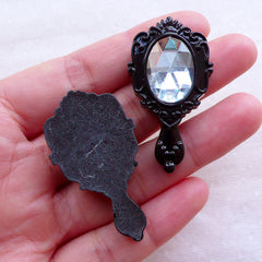 Victorian Hand Mirror Cabochons with Clear Rhinestone (2pcs / 24mm x 43mm / Black / Flat Back) Kawaii Princess Decoden Embellishment CAB531