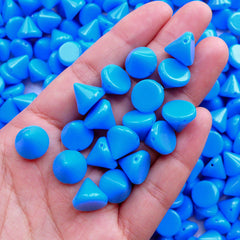 Spike Studs with Holes / Acrylic Cone Studs / Flatback Conical Rivets (20pcs / Blue / 12mm x 10mm) Spike Beads Bracelet Decoden Sewing RT41