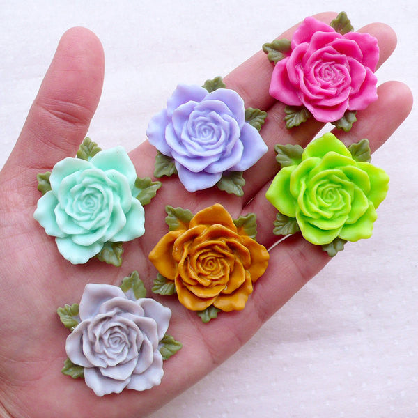 Assorted Big Rose Cabochons / Large Flower Cab Mix (6pcs / 39mm / Flatback) Floral Embellishment Scrapbooking Decoden Phone Case CAB538
