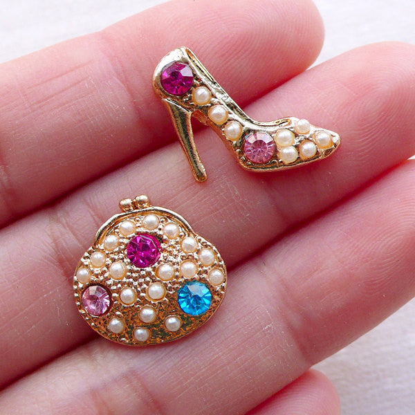 Coin Purse and High Heel Shoe Metal Cabochon w/ Rhinestones and Pearls (2pcs / 16mm & 18mm / Gold) Fashion Cabochon Kawaii Decoden CAB541