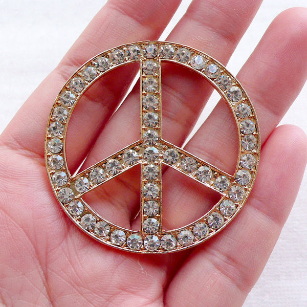 Peace Sign Metal Cabochon w/ Clear Rhinestones (1 piece / 46mm / Gold) Bling Bling Decoden Peace Symbol Hippie Hippy Jewellery CAB542