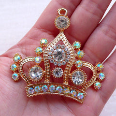 Large Crown Charm with Rhinestones / Big Crown Pendant (1 piece / 58mm x 56mm / Gold) Bling Metal Cabochon Phone Case Decoration CHM2372