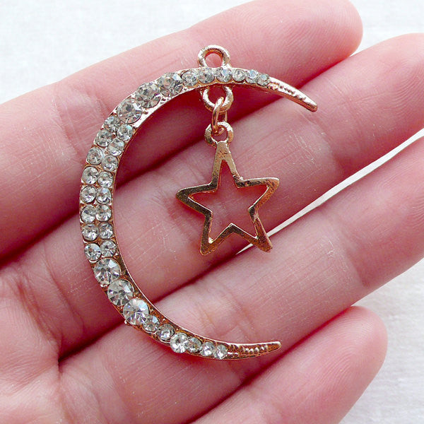 Crescent Moon and Star Charm with Rhinestones / Luna Pendant (1 piece / 29mm x 39mm / Gold) Quarter Moon Cabochon Celestial Jewelry CHM2373