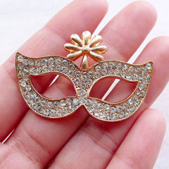Masquerade Mask Cabochon w/ Clear Rhinestones (1 piece / 45mm x 29mm / Gold) Phone Case Embellishment Decoden Bling Jewellery Making CAB546