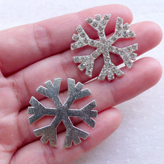 Bling Bling Snowflakes Metal Cabochon w/ Clear Rhinestones / Christmas Snow Flakes (2pcs / 28mm / Silver / Flatback) Hair Bow Center CAB554