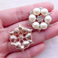 Flower Hair Bow Center Floral Cluster Button Pearls & Rhinestones Cabochon (2pcs / 29mm) Wedding Bridal Bridesmaid Jewellery CAB556
